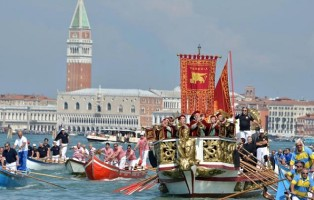 The Serenissima boat, carrying the civil, religious and military authorities, cruises in the Venice lagoon during the ''Sea Marriage'' ceremony in Venice, northern Italy, 01 June 2014. The traditional ceremony of the symbolic marriage between Venice and the sea goes back to the times of the Doge of Venice and expresses the close relations of the ancient republic to the sea. ANSA/ANDREA MEROLA