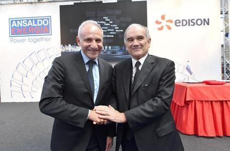 Il presidente e AD di Ansaldo Energia Giuseppe Zampini e 'lAd di Edison Marc Benayoun (D)dopo la firma del contratto per la forniture di turbine per la centrale di Marghera, Genova, 5 marzo 2019. ANSA/LUCA ZENNARO