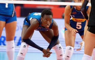 epa07795640 Paola Ogechi Egonu of Italy in action during the 2019 CEV Volleyball Women European Championship match between Italy and Belgiumin Atlas Arena in Lodz, Poland, 26 August 2019.  EPA/Grzegorz Michalowski POLAND OUT
